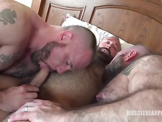 daddies, bear, creampie, hd, tattoo, threesome