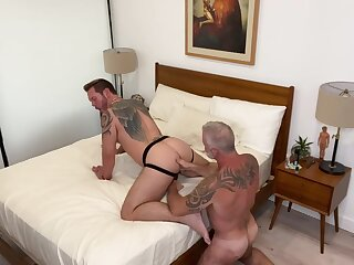 fucks, daddy, bareback, blonde, hd, mature
